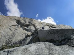 Rock Climbing Photo: Tom Rogers starting the long traverse to the right...