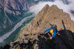 Rock Climbing Photo: Aaron Thrasher climbing on the West Ridge of Yukla