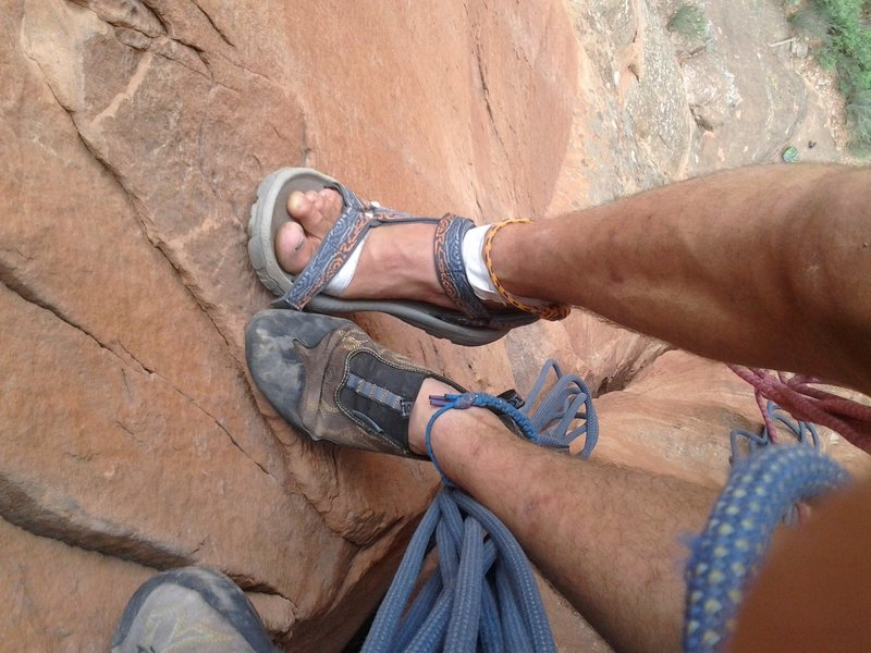 Rock Climbing Photo: i forgot one of my climbing shoes. doable, but not...