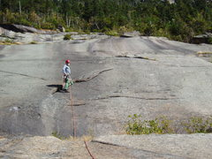 """Rock Climbing Photo: Crack on P4; the """"crux"""" is the 15 ft of ..."""