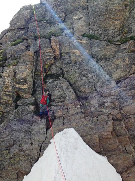 Rappelling into the notch.
