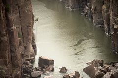 Rock Climbing Photo: Fremont Canyon, WY. Rappelled to fish the river. C...