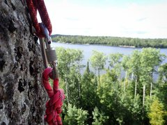 Rock Climbing Photo: View of Crane Lake from the top of the orange lich...
