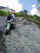 "Rock Climbing Photo: P5 - RW on the Start of P5. Flake and ""singlt..."