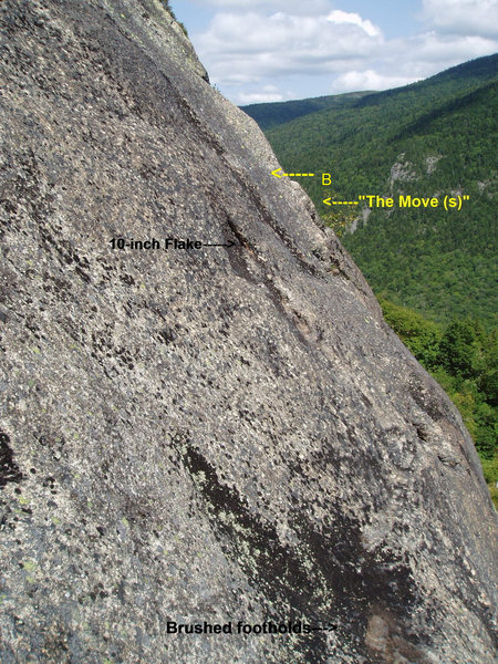 second half of P8   A bolt now protects the crux move.