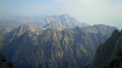 Rock Climbing Photo: View from upper saddle. Smoke from the fires made ...