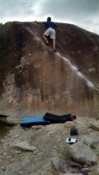 Ass shot of myself finishing up on Angler V2, Riverside Boulders, Joe's Valley, 9/29/2015