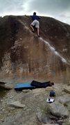 Rock Climbing Photo: Ass shot of myself finishing up on Angler V2, Rive...