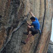 Rock Climbing Photo: Alex soloing the start of Honey Bare.