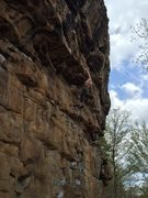 Rock Climbing Photo: Moving through the powerful sequence