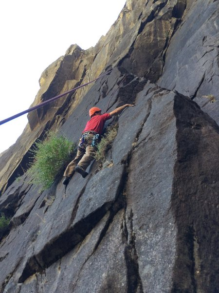 Rock Climbing Photo: The face moves leading to Arete