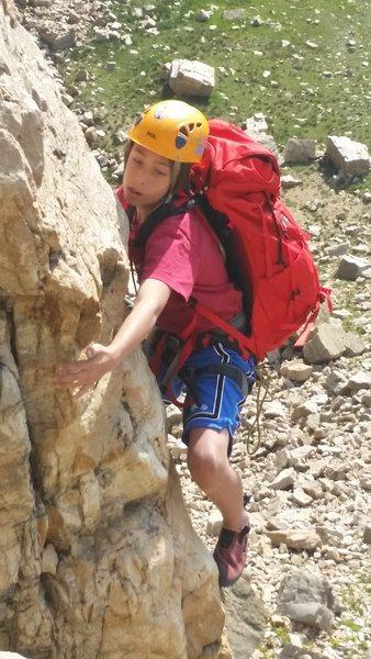 Rock Climbing Photo: Dragan at the crux of pitch 1