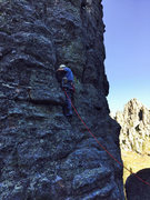 Peter Lev leading Station 13, Conn Route, first pitch. September 2015. Photo by Dave Green