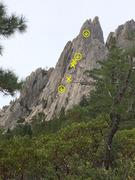 Rock Climbing Photo: Topo - all anchors will need tat or maillions leav...