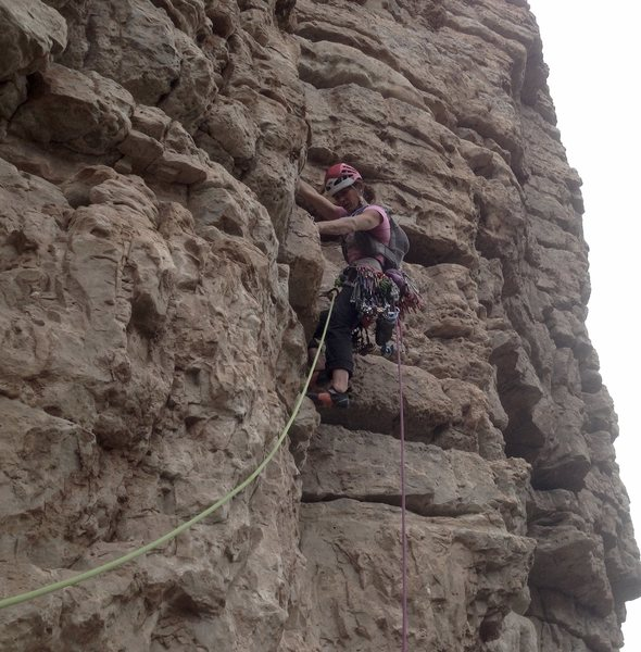 Rock Climbing Photo: Mary H. just before heading into the Triple Bypass...