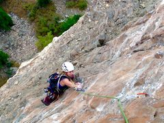 Rock Climbing Photo: Sammy following the 4th pitch.