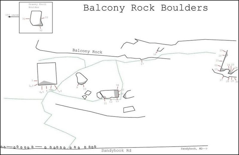 Beta sketch map of the Balcony Rock Boulders