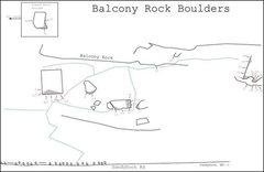 Rock Climbing Photo: Beta sketch map of the Balcony Rock Boulders