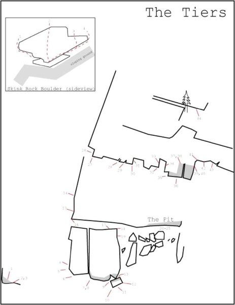 Rock Climbing Photo: Beta sketch map of The Tiers area