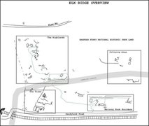 Rock Climbing Photo: Overview sketch of the bouldering areas on Elk Rid...