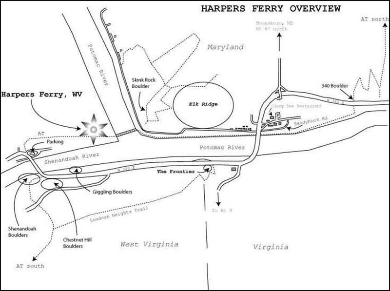 Overview sketch map of Harpers Ferry bouldering areas. The main cliffs such as Maryland Heights are not indicated on this map, just the bouldering areas.