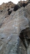 Rock Climbing Photo: Looking up at the direct start, a work in progress...
