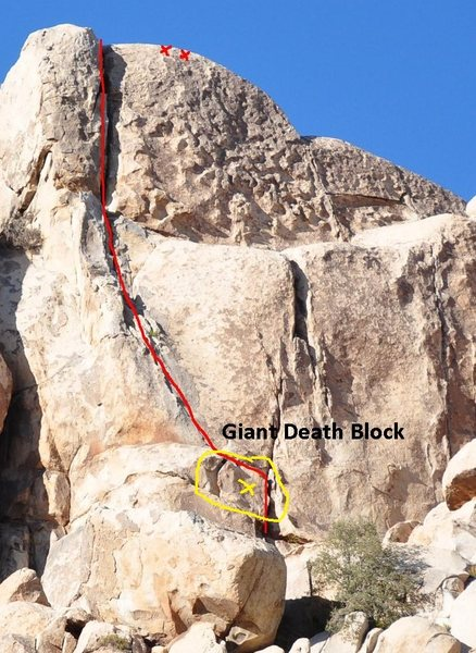 Rock Climbing Photo: Danger - death block in yellow