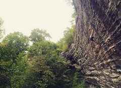 John Hood on Chainsaw Massacre (5.12a) at Red River Gorge, KY