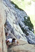 """Rock Climbing Photo: Dave Caunt leading """"Demonology"""" in Augus..."""