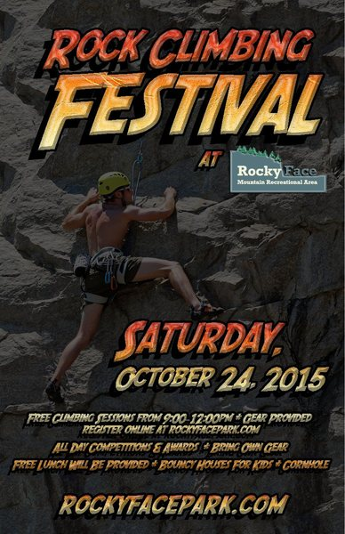 Rock Climbing Festival at Rocky Face Park.<br> FREE. Online register for a FREE t-shirt. Friendly Competition.