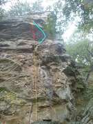 Rock Climbing Photo: Squaw. Yellow is the lower and upper free sections...
