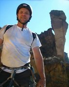 Rock Climbing Photo: Aaron Parker standing on the huge ledge at the sec...