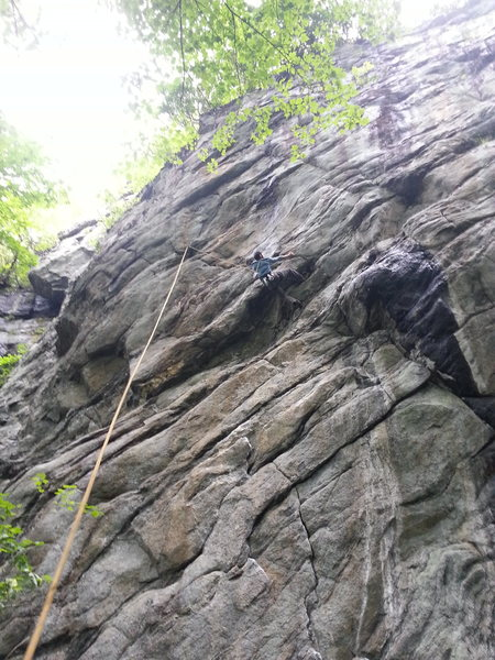 Rock Climbing Photo: Javiar on the left finish variation on a seepy day...