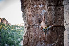 Rock Climbing Photo: Eric stretching for the sidepull.