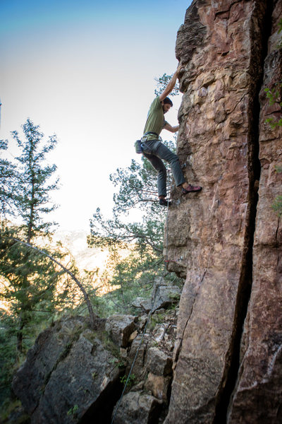 Rock Climbing Photo: Todd working up the arete.
