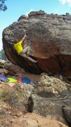 Rock Climbing Photo: Sticking the crucial right hand on Phallic Fiction...