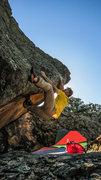 Rock Climbing Photo: Leg pinching the lip on Asleep At The Temple Steps...