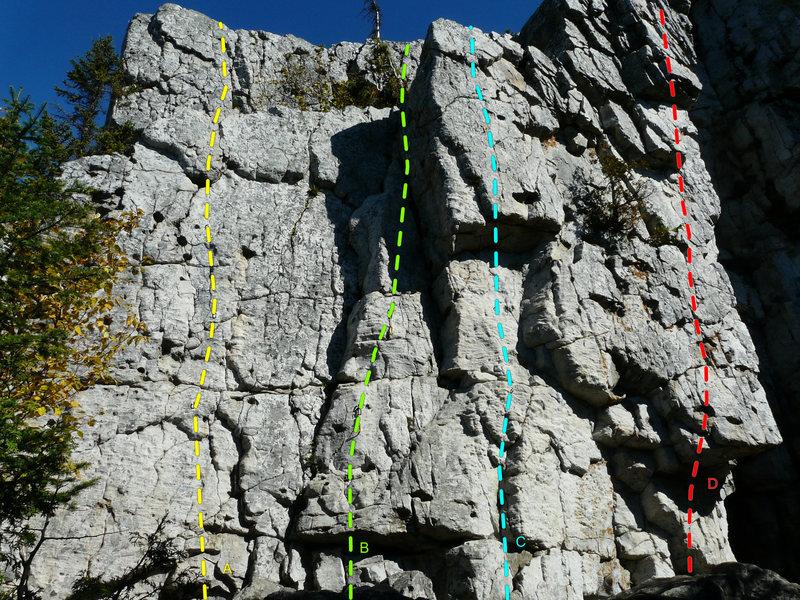 Rock Climbing Photo: A- La vache enragée 5.5 B- Le sexe des anges 5.7 ...