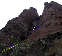 Rock Climbing Photo: Not so hidden anymore. The route is very approxima...