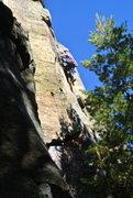 Rock Climbing Photo: Joel Allen leading Little Rebel Crack, Necedah 10-...