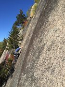Rock Climbing Photo: Me on the upper section of Coffee Achievers. Photo...