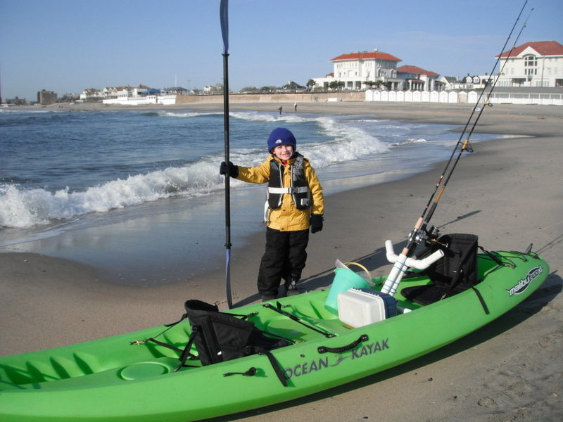 Spring Kayak fishing at the Jersey Shore with Jonah on his 7th Birthday.