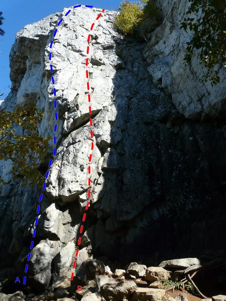Rock Climbing Photo: A- Les fédérastes perdent le nord 5.10c B- Hocus...