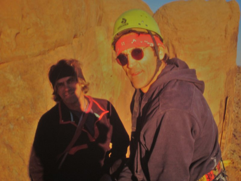 Jimmy Dunn and Billy Rothstein on the summit of Moab Rom Tower after the first ascent in October 1999.. This week 0ct 3rd 2015 Billy from Park City Utah passed on .A great character.