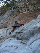 Rock Climbing Photo: Jimmy Young near/at top of crux sequence