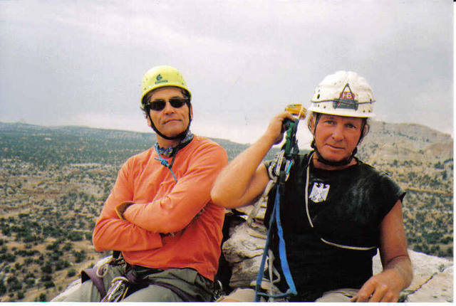 Billy Rothstein on the left and Layne Potter  after the First Ascent of Napes Needle ,San Rafael Swell .Utah. 6th Sept 2006