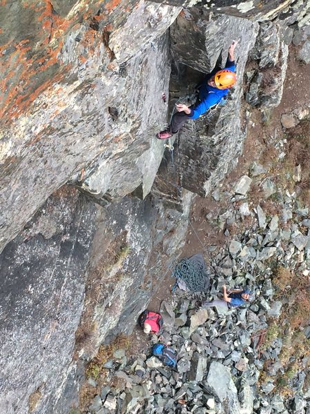 Alex C. clipping in halfway up the Corner Route, 10/3/15.