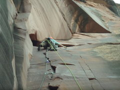 Rock Climbing Photo: Eric Dixon working out the crux on the FA. Dixon a...