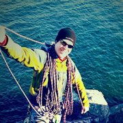 Rock Climbing Photo: Coiling Rope April 2015 Palisade Head with Cody (3...