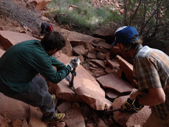 Rock Climbing Photo: Tim and Keith working on the trail.